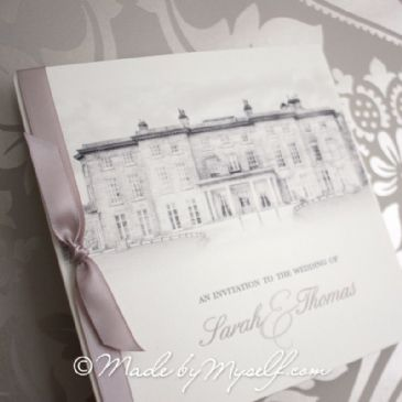 Haigh Hall Pocketfold Wedding Invitation - Includes RSVP & Guest Information